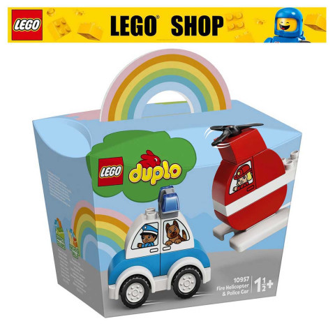 LEGO® DUPLO® 10957 Fire Helicopter & Police Car, Age 1½+, Building Blocks, 2021 (14pcs)